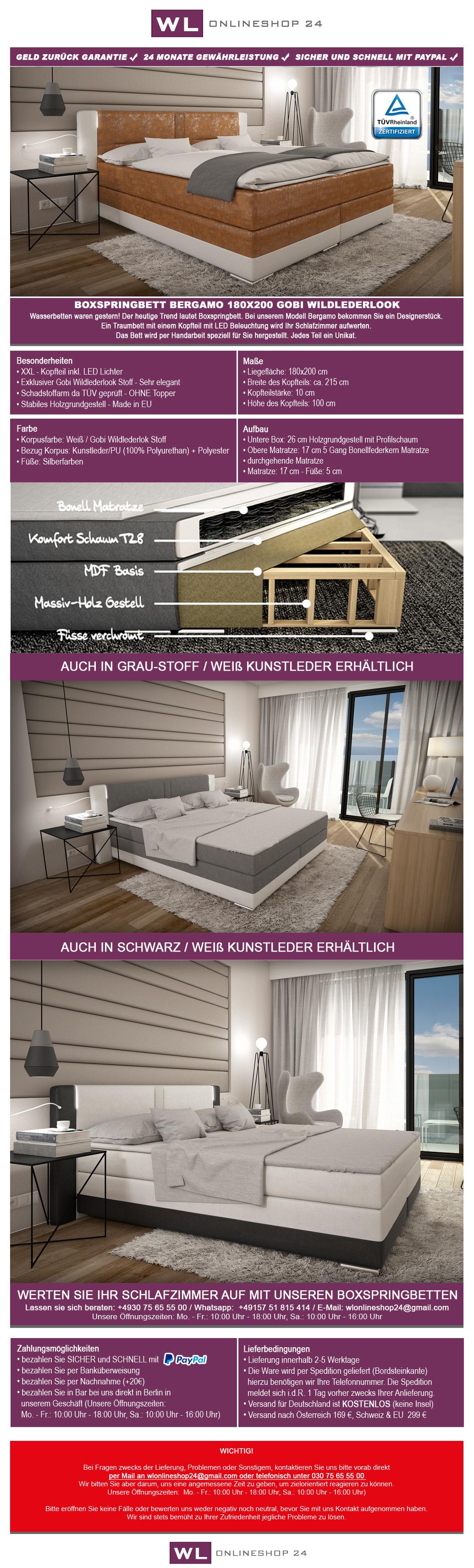 boxspringbett 180x200 wei hotelbett led polsterbett bett sofort lieferbar ebay. Black Bedroom Furniture Sets. Home Design Ideas