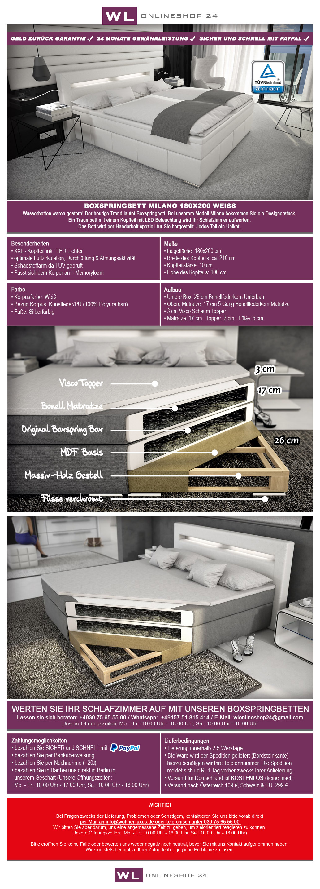 boxspringbett 180x200 wei hotelbett led original polsterbett visco topper ebay. Black Bedroom Furniture Sets. Home Design Ideas
