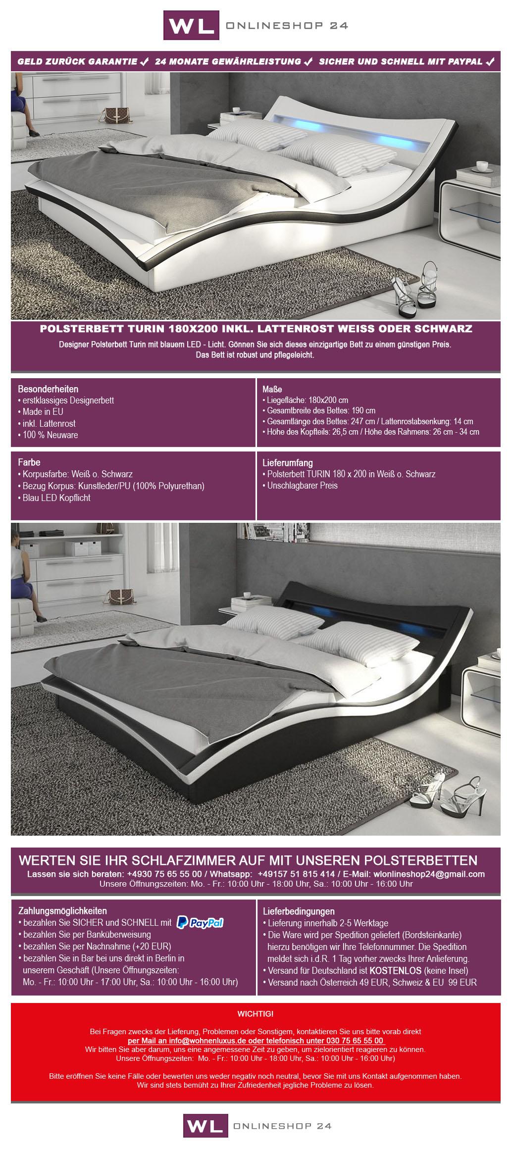 polsterbett 180x200 turin wei schwarz lattenrost ehebett. Black Bedroom Furniture Sets. Home Design Ideas